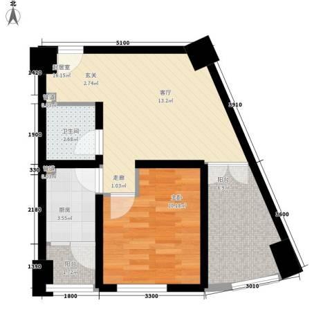 熙城国际1室0厅1卫1厨60.00㎡户型图