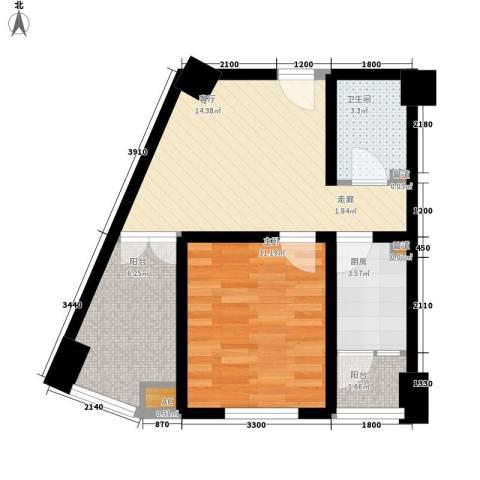 熙城国际1室1厅1卫1厨60.00㎡户型图