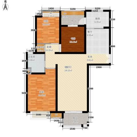 中海万锦城3室1厅1卫1厨126.00㎡户型图