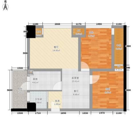 熙城国际2室0厅1卫1厨87.00㎡户型图