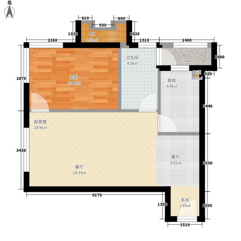 天合凯旋港68.00㎡B32型标准层户型1室2厅1卫1厨