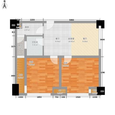 熙城国际2室0厅1卫1厨83.00㎡户型图