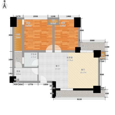 熙城国际2室0厅1卫1厨95.00㎡户型图
