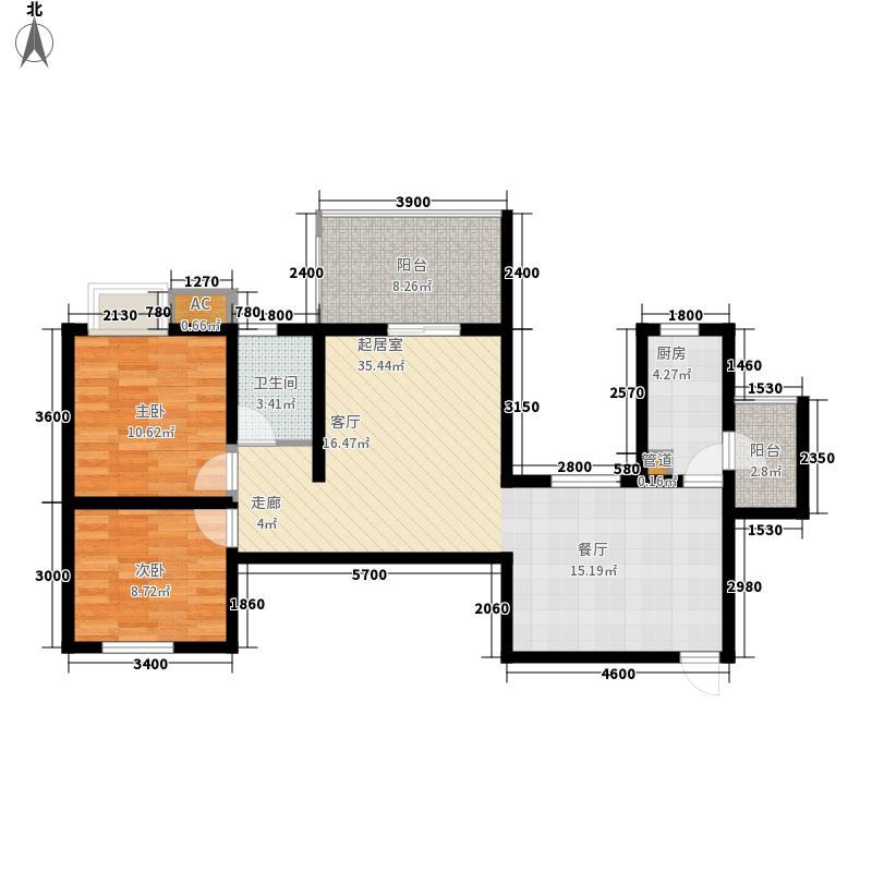 阳光地中海86.80㎡二期一批次标准层D1户型2室2厅1卫1厨