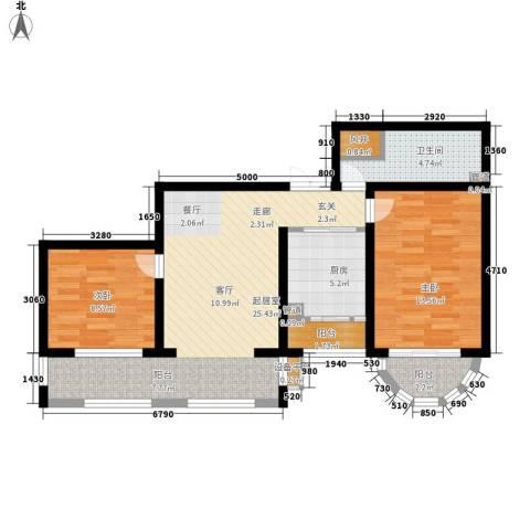 华风海城湾2室0厅1卫1厨74.00㎡户型图