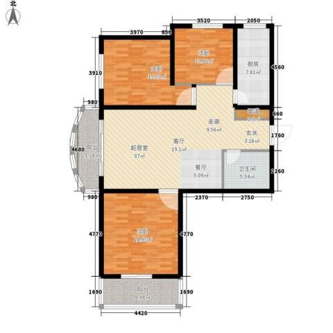 坤泽-翰林华府3室0厅1卫1厨151.00㎡户型图