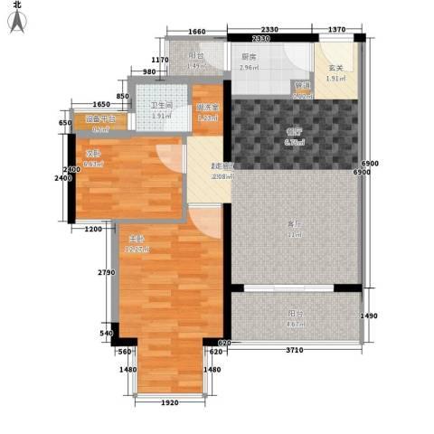凯旋国际2室0厅1卫1厨67.00㎡户型图