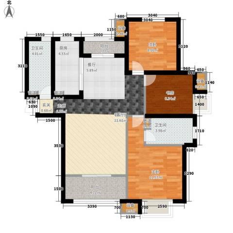 银丰唐郡・紫薇园3室1厅2卫1厨133.00㎡户型图