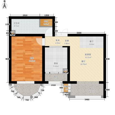 华风海城湾1室0厅1卫1厨59.00㎡户型图