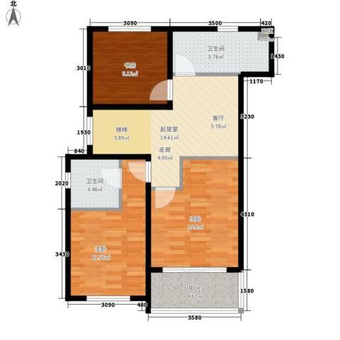 南苑七村3室0厅2卫0厨69.00㎡户型图
