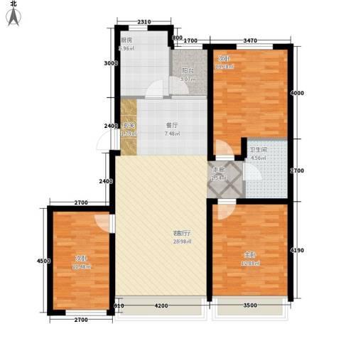 富雅豪临3室1厅1卫1厨124.00㎡户型图