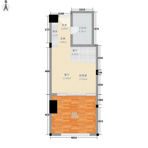 华林星座1室0厅1卫0厨61.00㎡户型图
