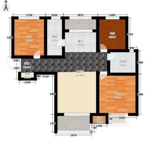 银丰唐郡・紫薇园3室1厅1卫1厨114.00㎡户型图