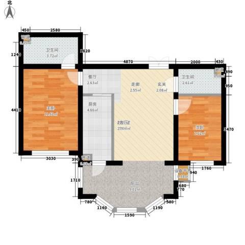 华风海城湾2室0厅2卫1厨65.00㎡户型图