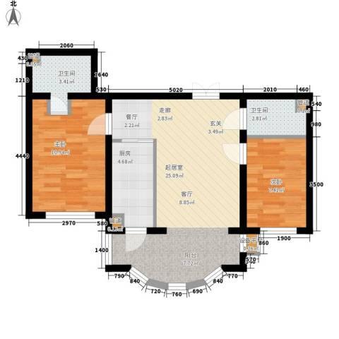华风海城湾2室0厅2卫1厨64.00㎡户型图