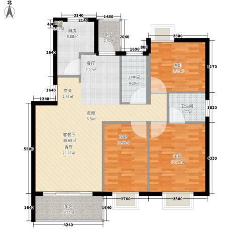 蓝天花园3室1厅2卫1厨105.00㎡户型图