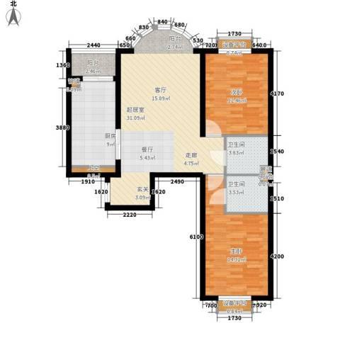 华风海城湾2室0厅2卫1厨90.00㎡户型图