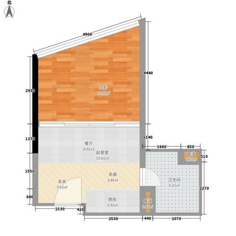 华林星座1室0厅1卫0厨43.00㎡户型图