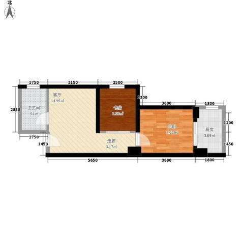 金圣甲第2室1厅1卫1厨57.00㎡户型图
