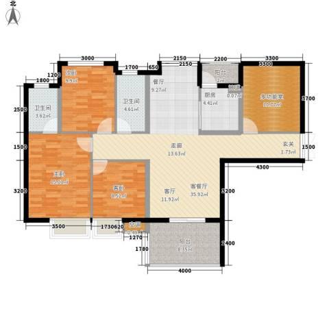 箐英时代3室1厅2卫1厨103.66㎡户型图