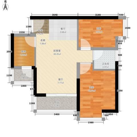 中惠丽阳时代2室0厅1卫1厨61.00㎡户型图