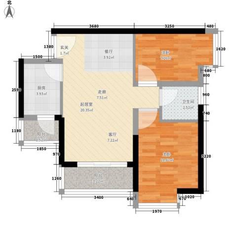 中惠丽阳时代2室0厅1卫1厨63.00㎡户型图