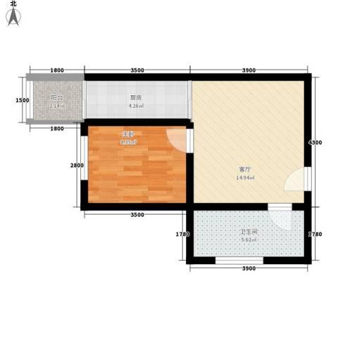 金圣甲第1室1厅1卫1厨53.00㎡户型图