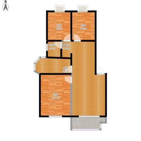 翠语棠城3室1厅1卫1厨107.00㎡户型图