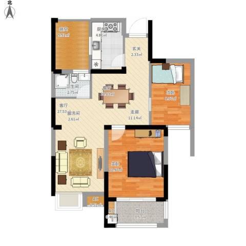 御景城2室1厅1卫1厨96.00㎡户型图