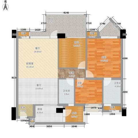 怡丰翠云轩2室0厅2卫1厨126.00㎡户型图