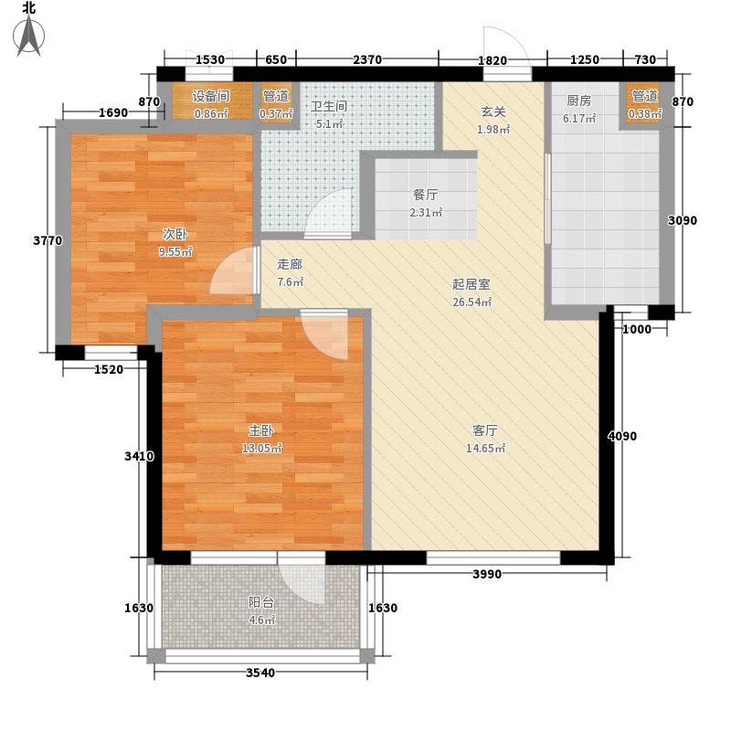 万科魅力之城76.00㎡万科魅力之城户型图A1区6号楼C户型2室2厅1卫1厨户型2室2厅1卫1厨
