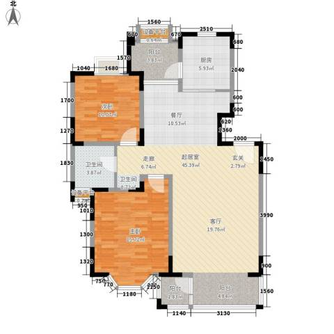 金运花园2室0厅1卫1厨98.00㎡户型图
