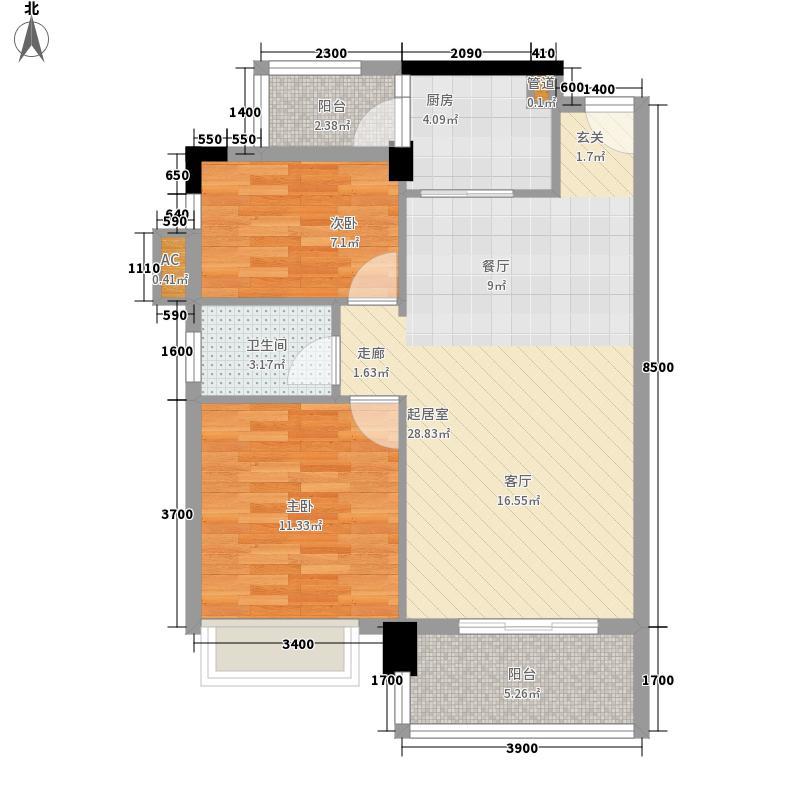 嘉湖山庄65.00㎡嘉湖山庄2室户型2室