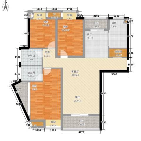 水云间3室1厅2卫1厨131.00㎡户型图