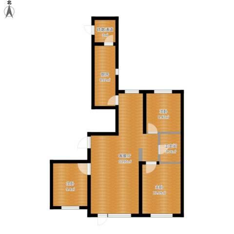格林馨港湾3室1厅1卫1厨112.00㎡户型图