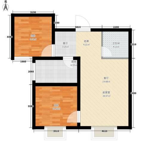坤泽-翰林华府2室0厅1卫1厨81.00㎡户型图