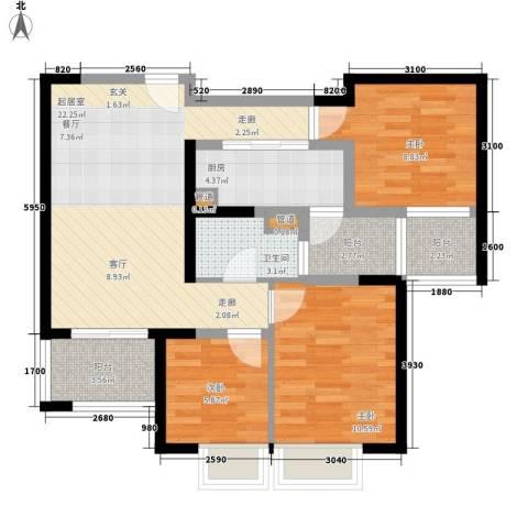 长福花园3室0厅1卫1厨95.00㎡户型图