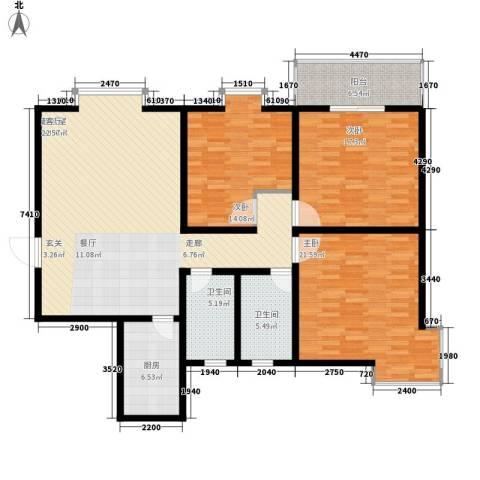 长丰园项目3室0厅2卫1厨134.00㎡户型图