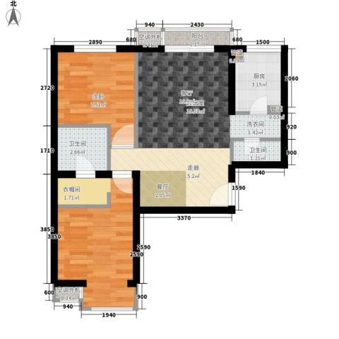 润枫嘉尚2室0厅2卫1厨54.00㎡户型图
