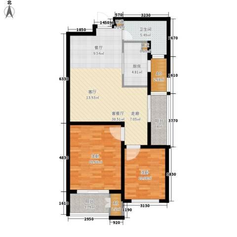 新创理想城2室1厅1卫1厨92.00㎡户型图