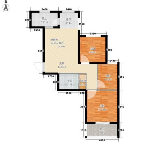 坤泽-翰林华府3室0厅1卫1厨110.00㎡户型图