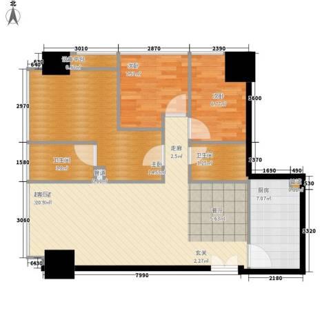 洛桑美地3室0厅2卫1厨85.00㎡户型图