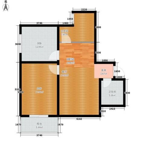 长丰园项目2室0厅2卫0厨87.00㎡户型图