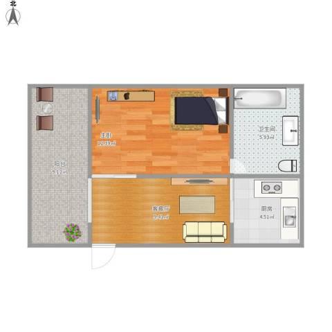 御祥豪庭1室1厅1卫1厨45.00㎡户型图