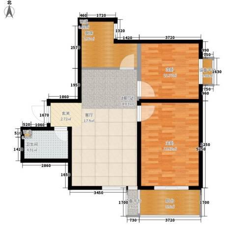 长丰园项目2室0厅1卫1厨87.00㎡户型图
