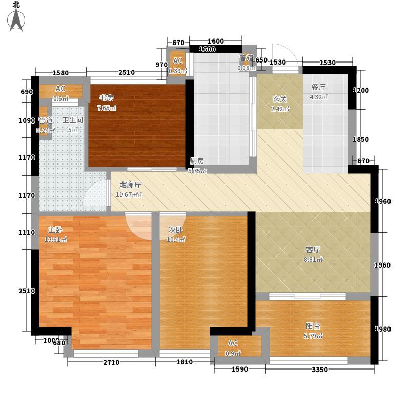 星光耀广场90.00㎡高层5#、6#等标准层C户型
