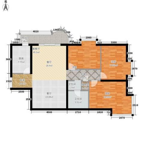 金苑华城3室1厅1卫1厨144.00㎡户型图