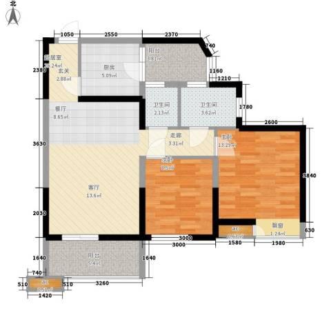 山湖新村2室0厅2卫1厨69.22㎡户型图