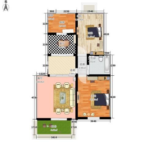 月港湾花园2室2厅1卫1厨86.00㎡户型图