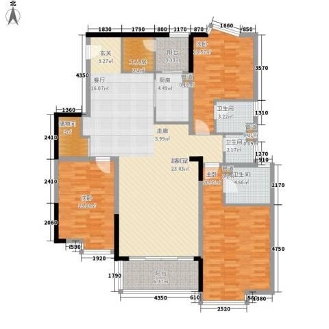 长福花园3室0厅3卫1厨180.00㎡户型图